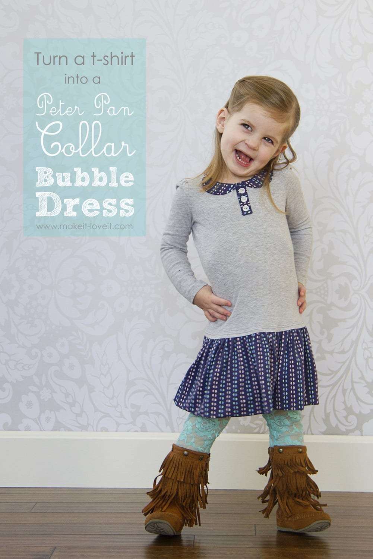 Turn a t-shirt into a 'Peter Pan Collar Bubble Dress'