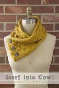 Turn a Scarf into a Cowl...with Buttons