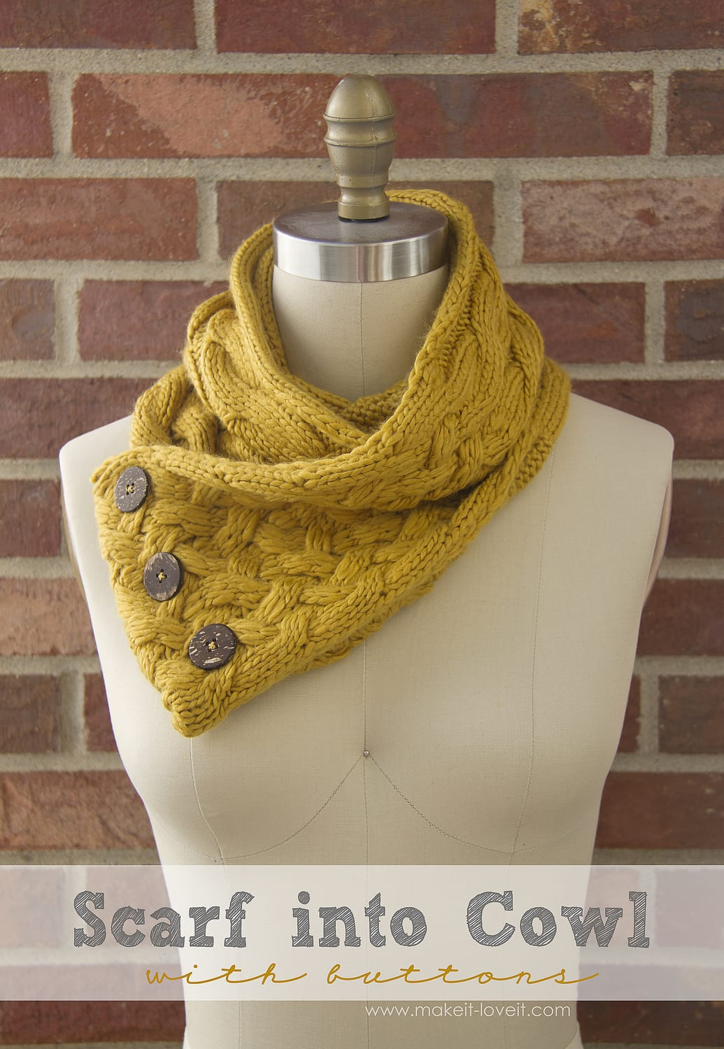 Turn a Scarf into a Cowl...with Buttons. A whole new look for cooler weather! --- Make It and Love It
