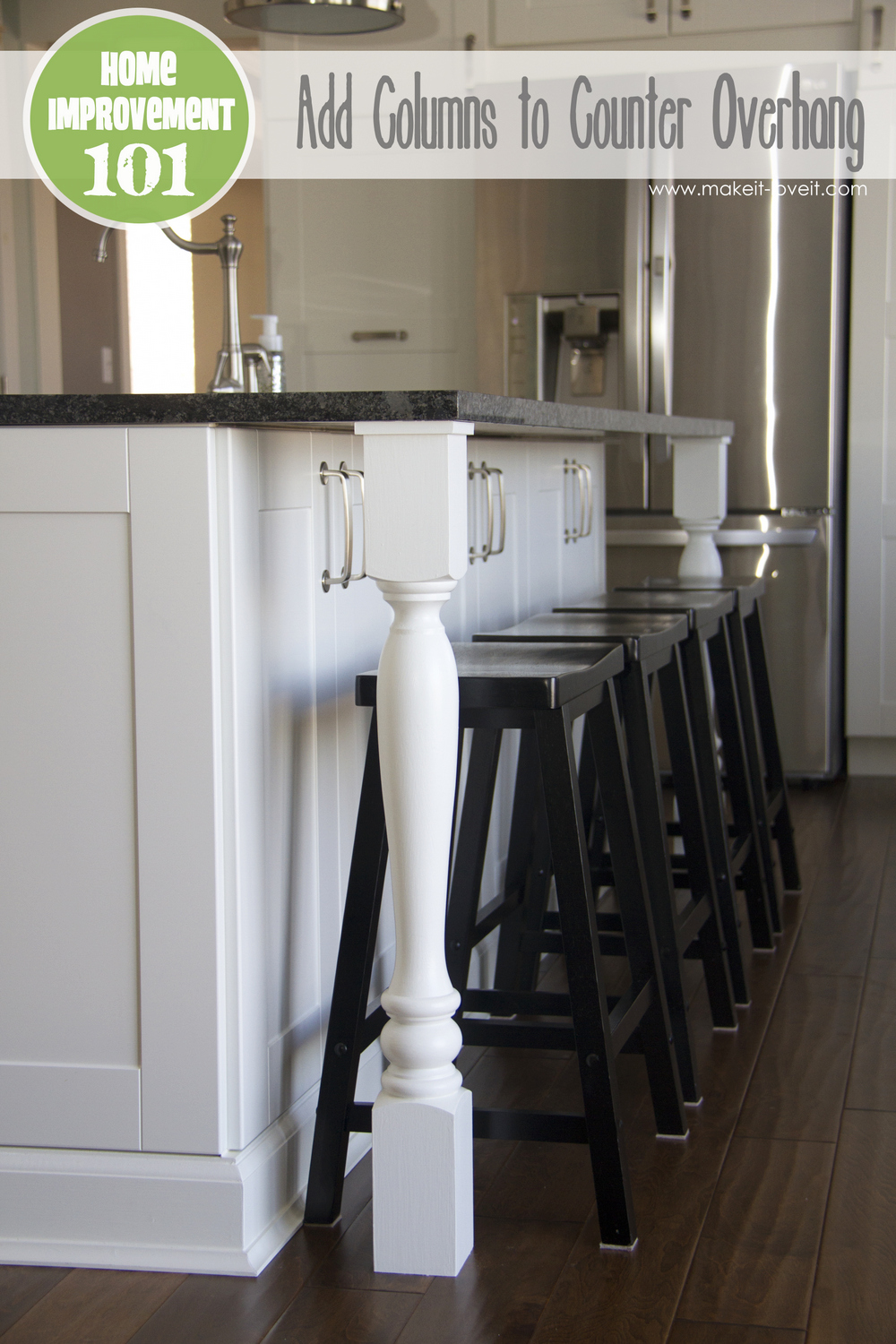 Kitchen Island Granite Overhang home improvement: adding column supports to counter overhang (plus