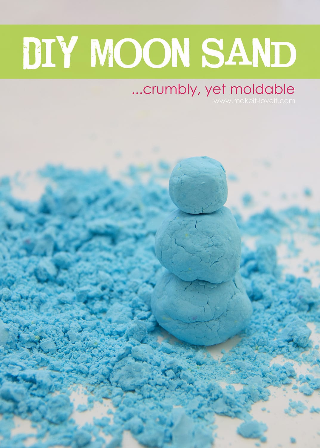 Make your own MOON SAND (crumbly, yet moldable and fun!)