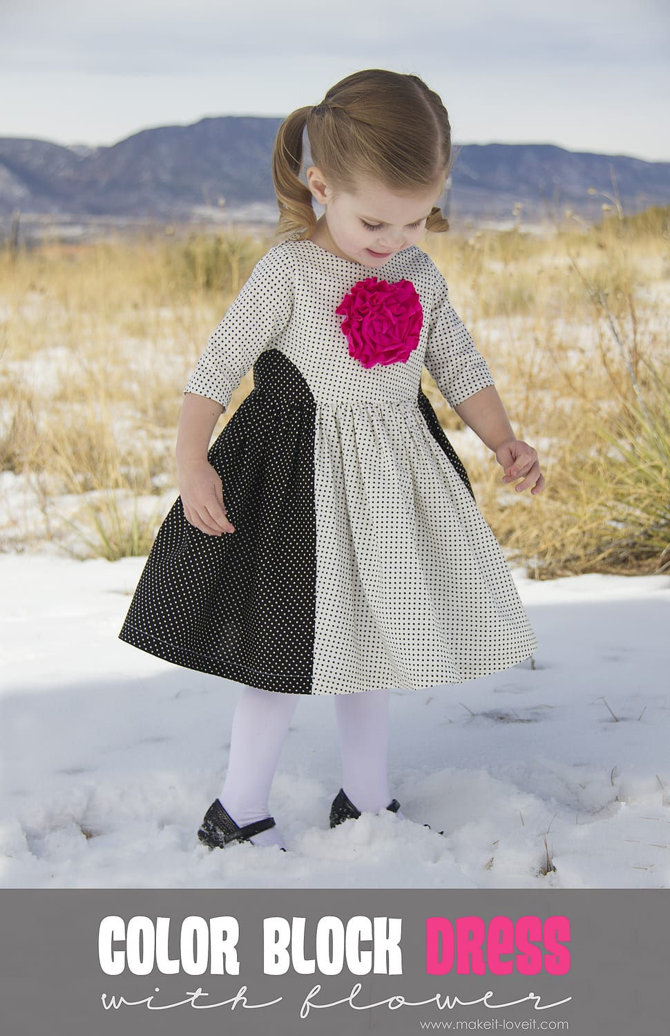 Color Block Dress with Front Flower (5 & 10 Designs)