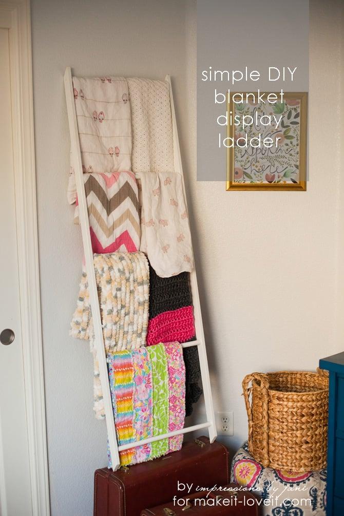 DIY Blanket Storage Display Ladder