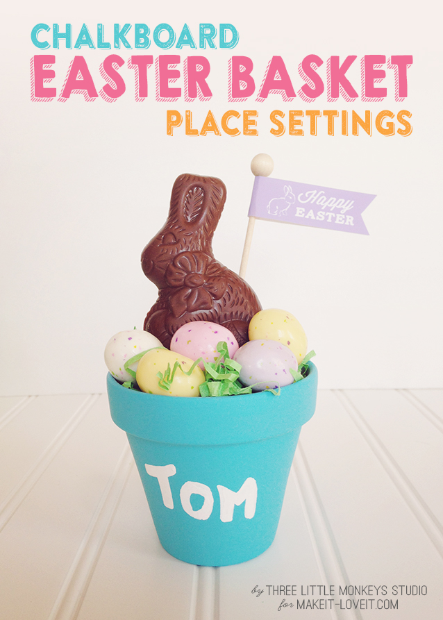 Chalkboard Easter Basket Place Settings (plus free flag printable) --- Make It and Love It