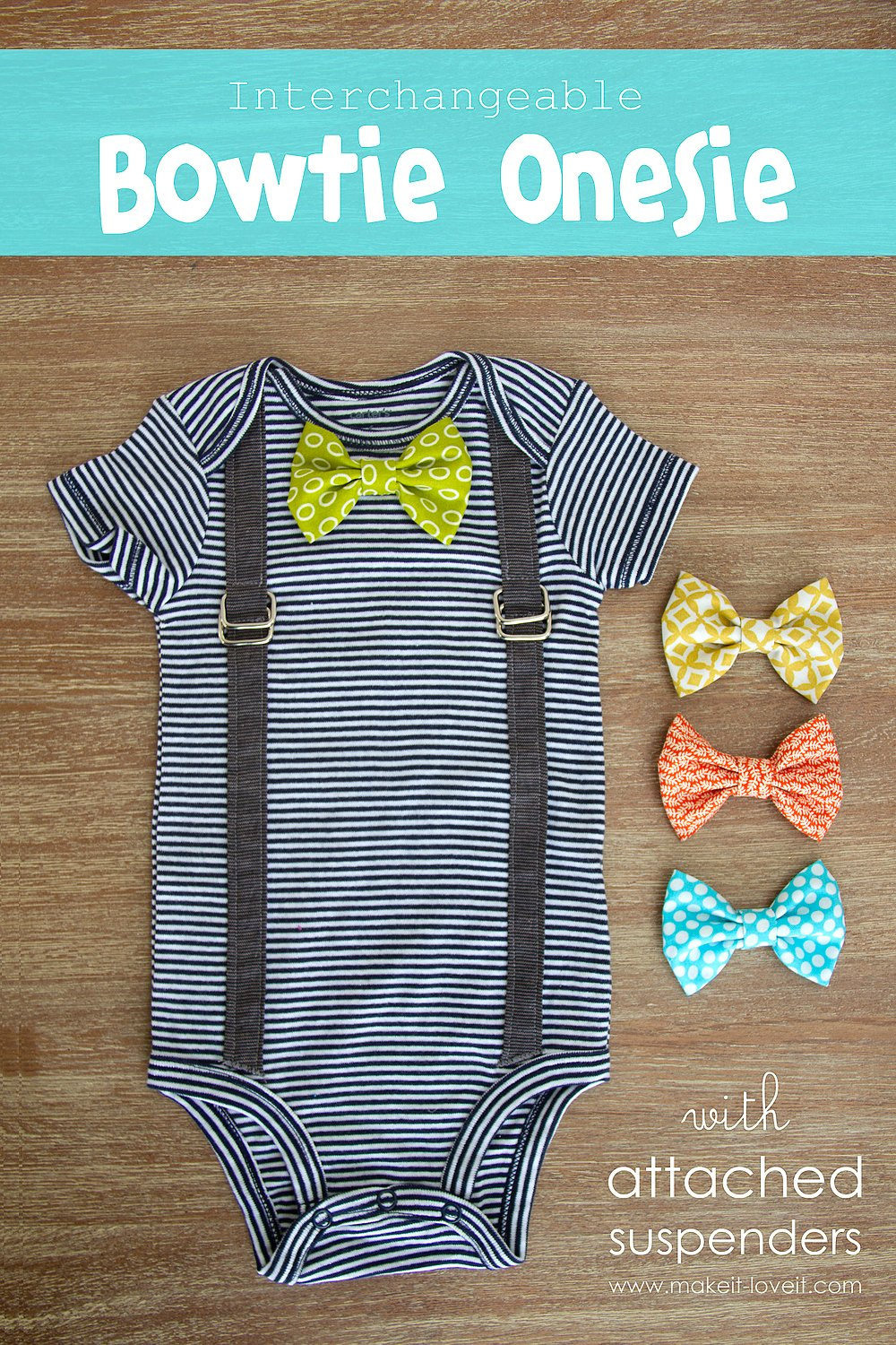 Interchangeable Bowtie Onesie….with Attached Suspenders (2 variations)