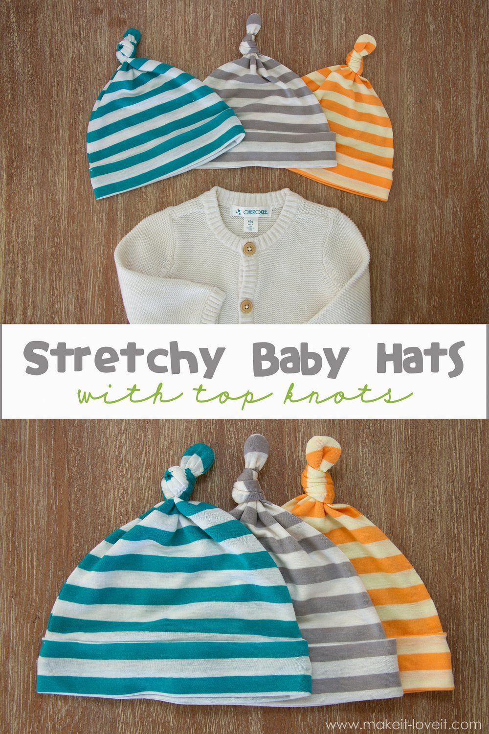 Stretchy Baby Hats…with Top Knots (template included)