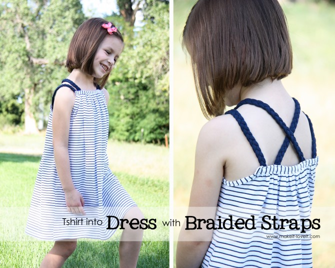 16 Tshirt into dress with braided straps