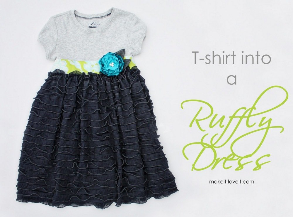 22 Tshirt into Ruffly Dress
