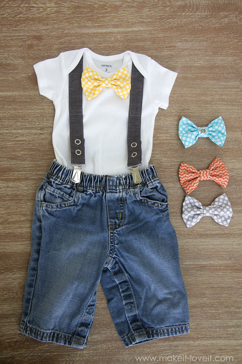 36 Interchangeable Bowtie Onesie