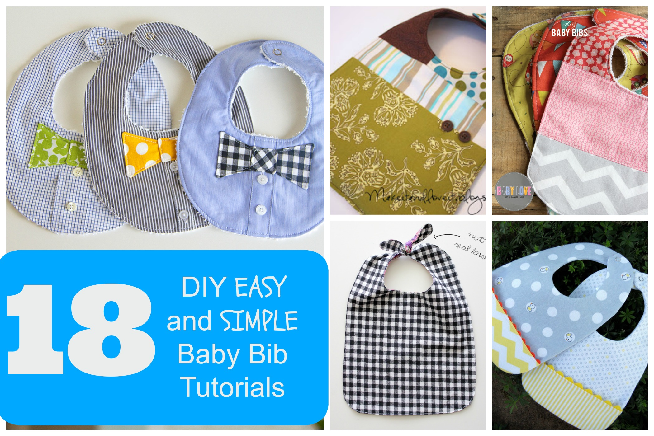 18 DIY EASY and SIMPLE Baby Bib Tutorials