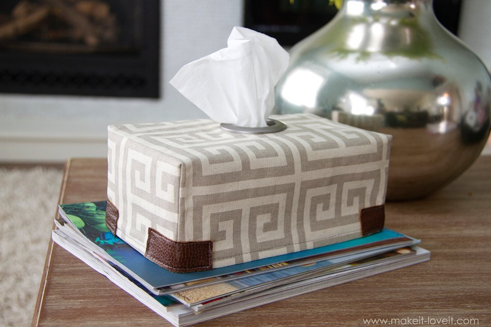 diy fabric tissue box coverwith grommet opening make it