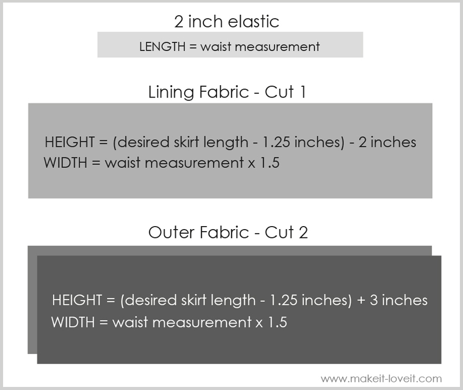 bubble skirt measurements