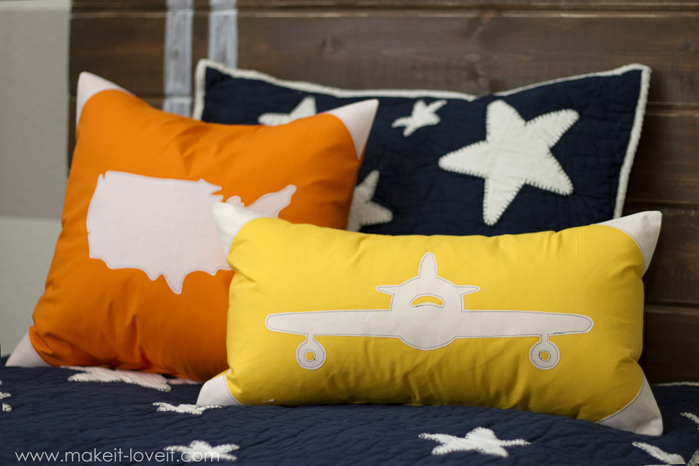 Appliqued Plane & USA Map Pillow Covers with envelope closure