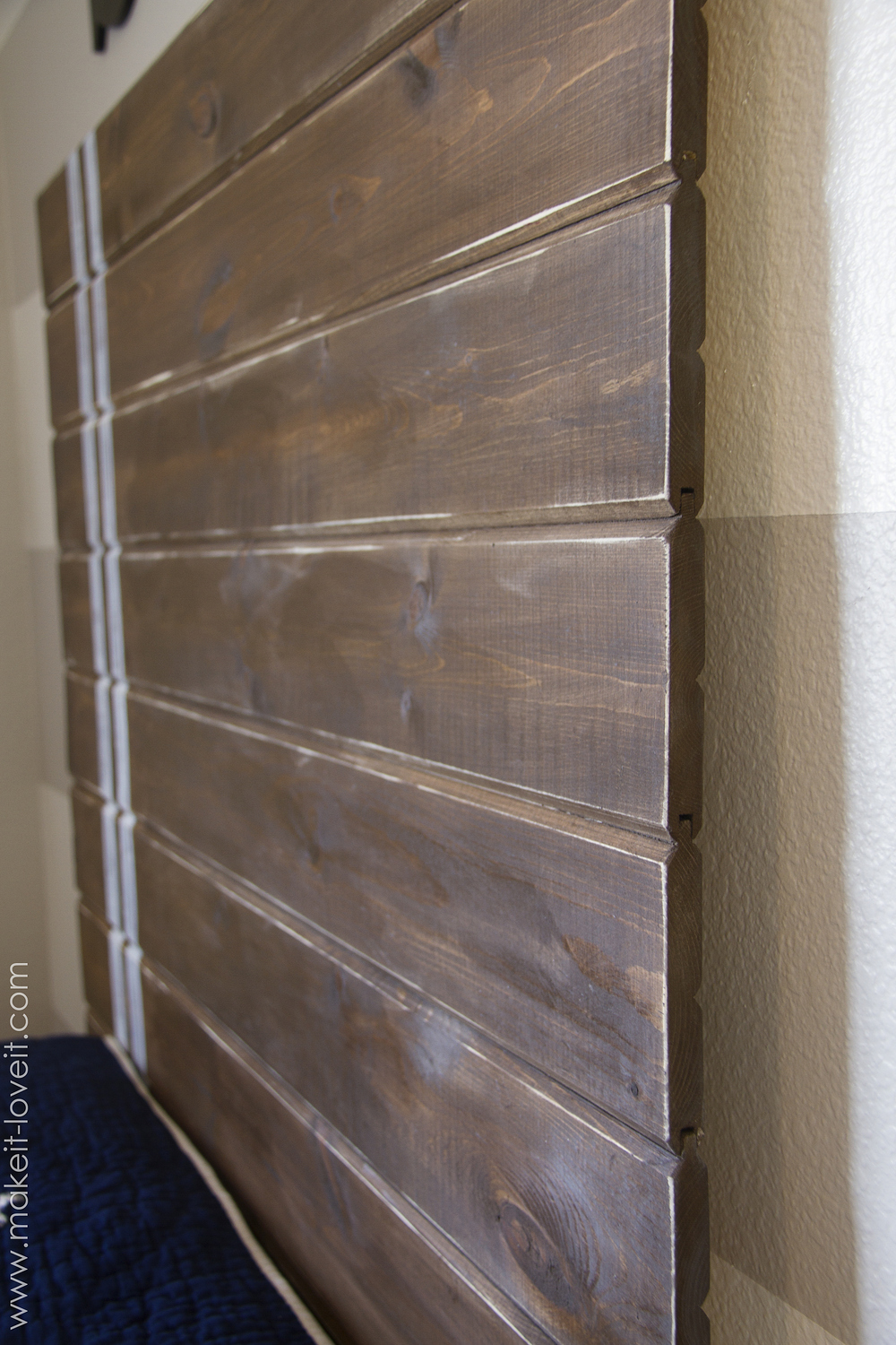 Very simple DIY Wood Plank Headboard --- Make It and Love It