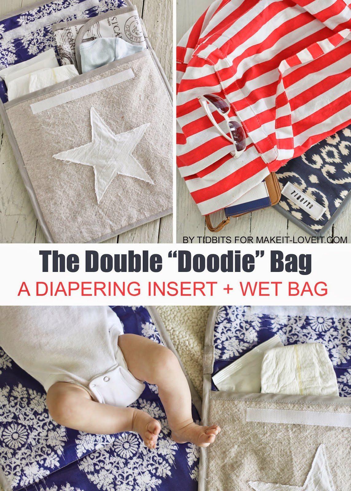 "The Double ""Doodie"" Bag (a wipe-able diapering ""wet"" bag)...keeps baby diaper messes contained! --- Make It and Love It"