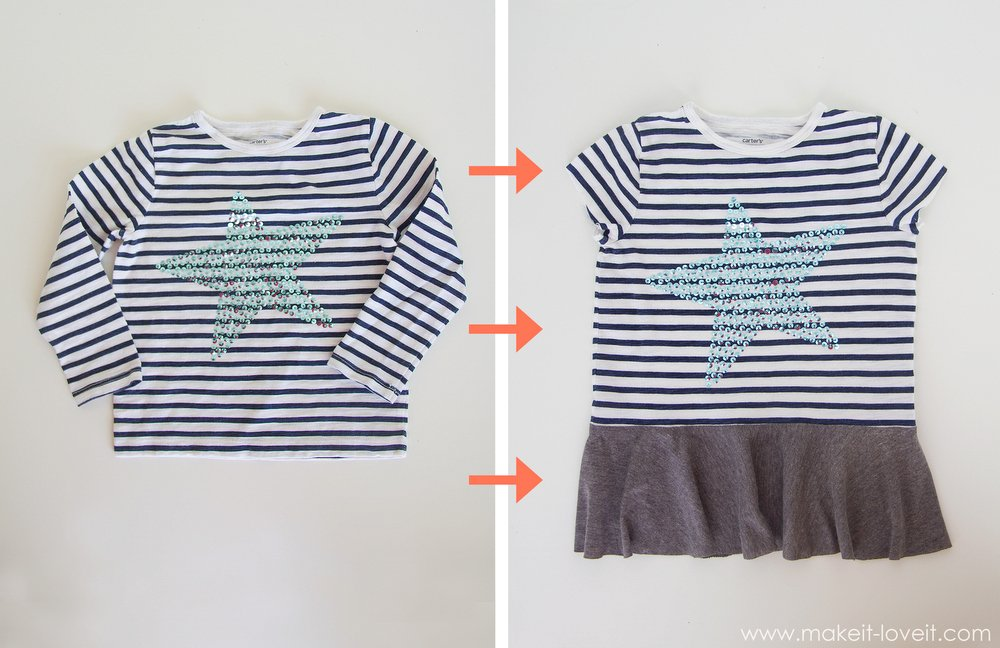 Turn a too-small Tshirt...into a PEPLUM TOP! (Winter clothes into spring clothes.) --- Make It and Love It