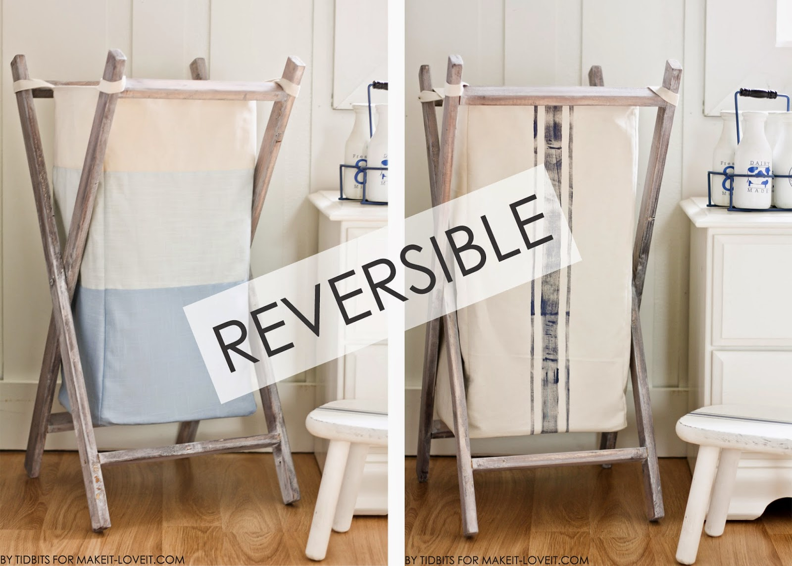 DIY Foldable Wood Hamper...with Reversible Bag Insert --- Make It and Love It