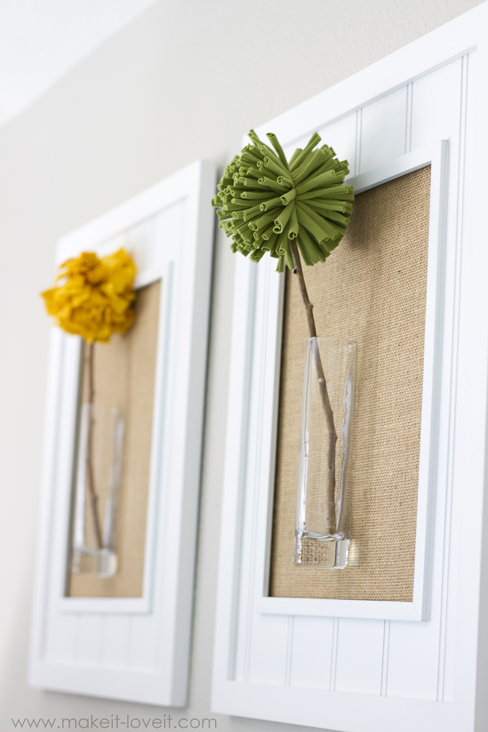 Perfect Framed Pom Pom Flowers wall decor Make It and Love It