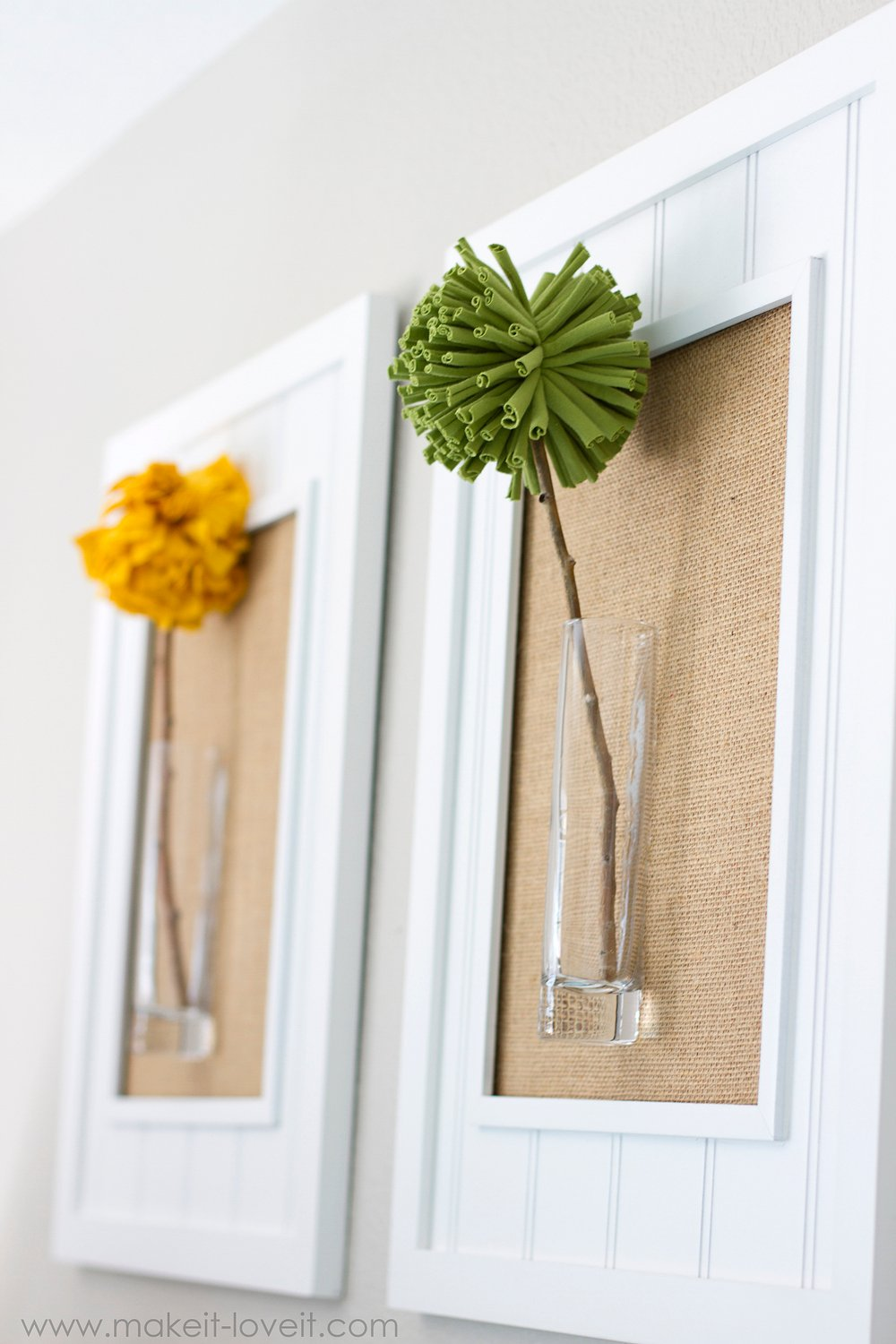 Framed Pom-Pom Flowers (wall decor) -- Make It and Love It