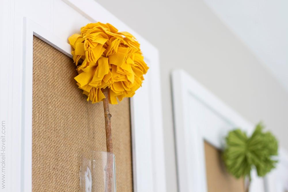 Fancy Framed Pom Pom Flowers wall decor Make It and Love It