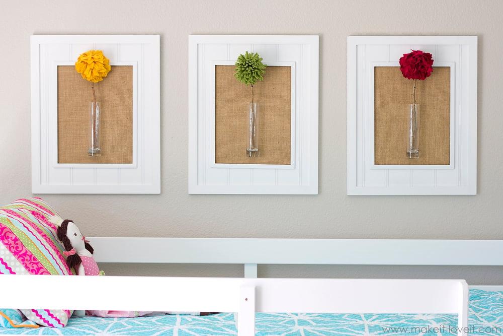 Vintage Framed Pom Pom Flowers wall decor Make It and Love It