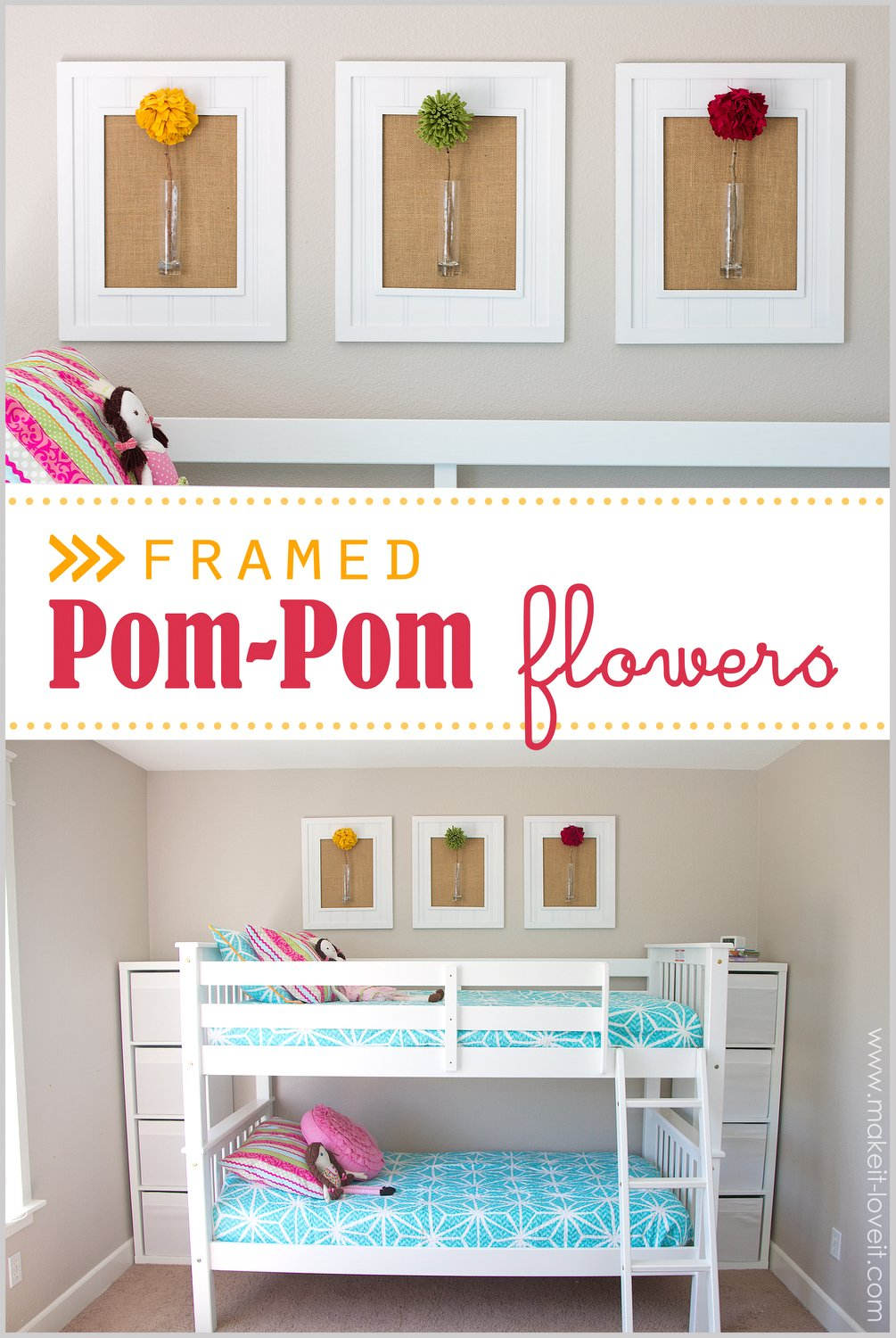 Stunning Framed Pom Pom Flowers wall decor Make It and Love It