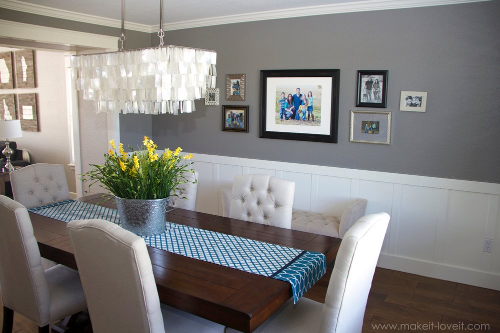 Home state scrap wood art make it and love it for Dining room decorating ideas with chair rail