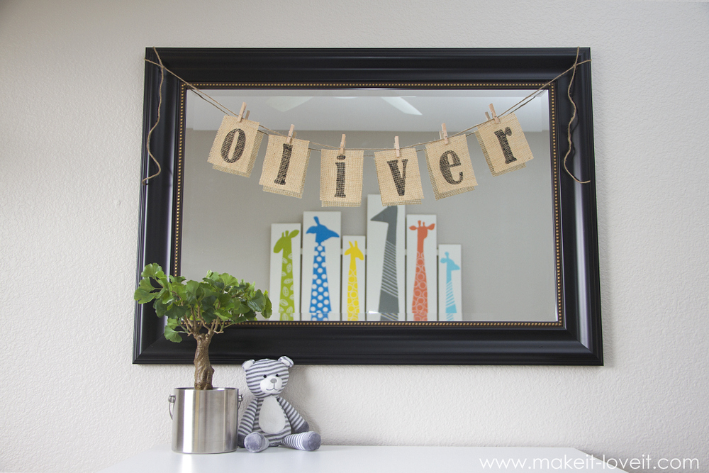 DIY Burlap Name Bunting for baby nursery --- Make It and Love It