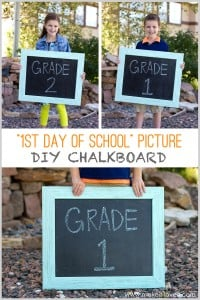"""1st Day of School"" Picture DIY Chalkboard (re-usable each year!) --- Make It and Love It"