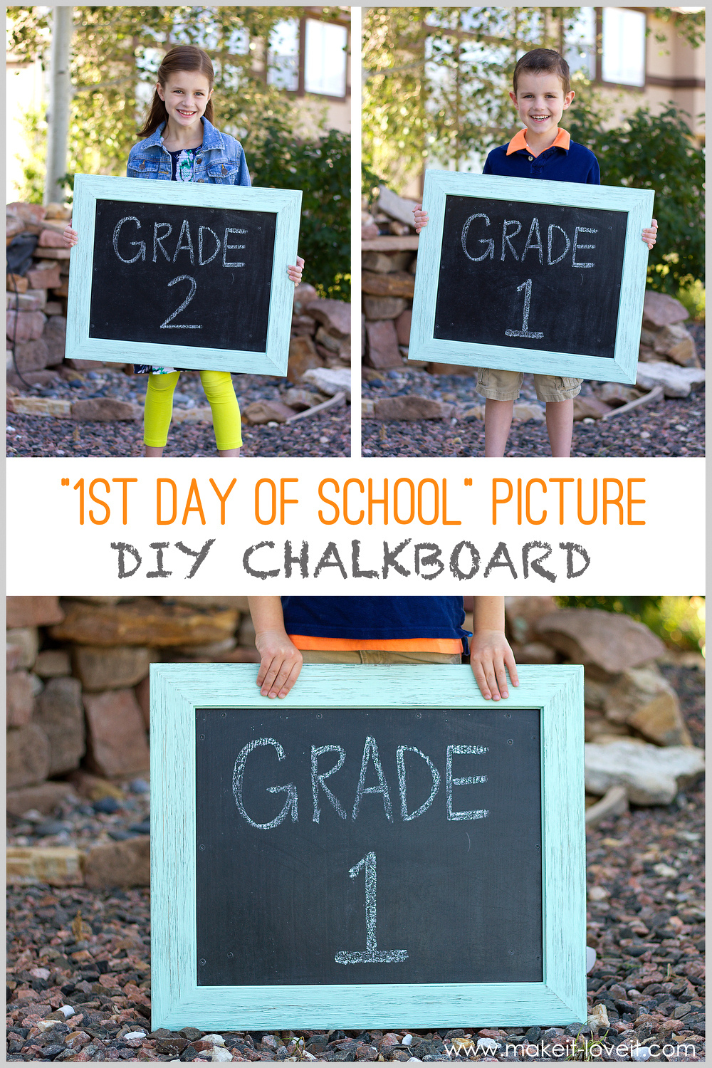 """First Day of School Picture"" DIY Chalkboard (re-usable each year!!)"