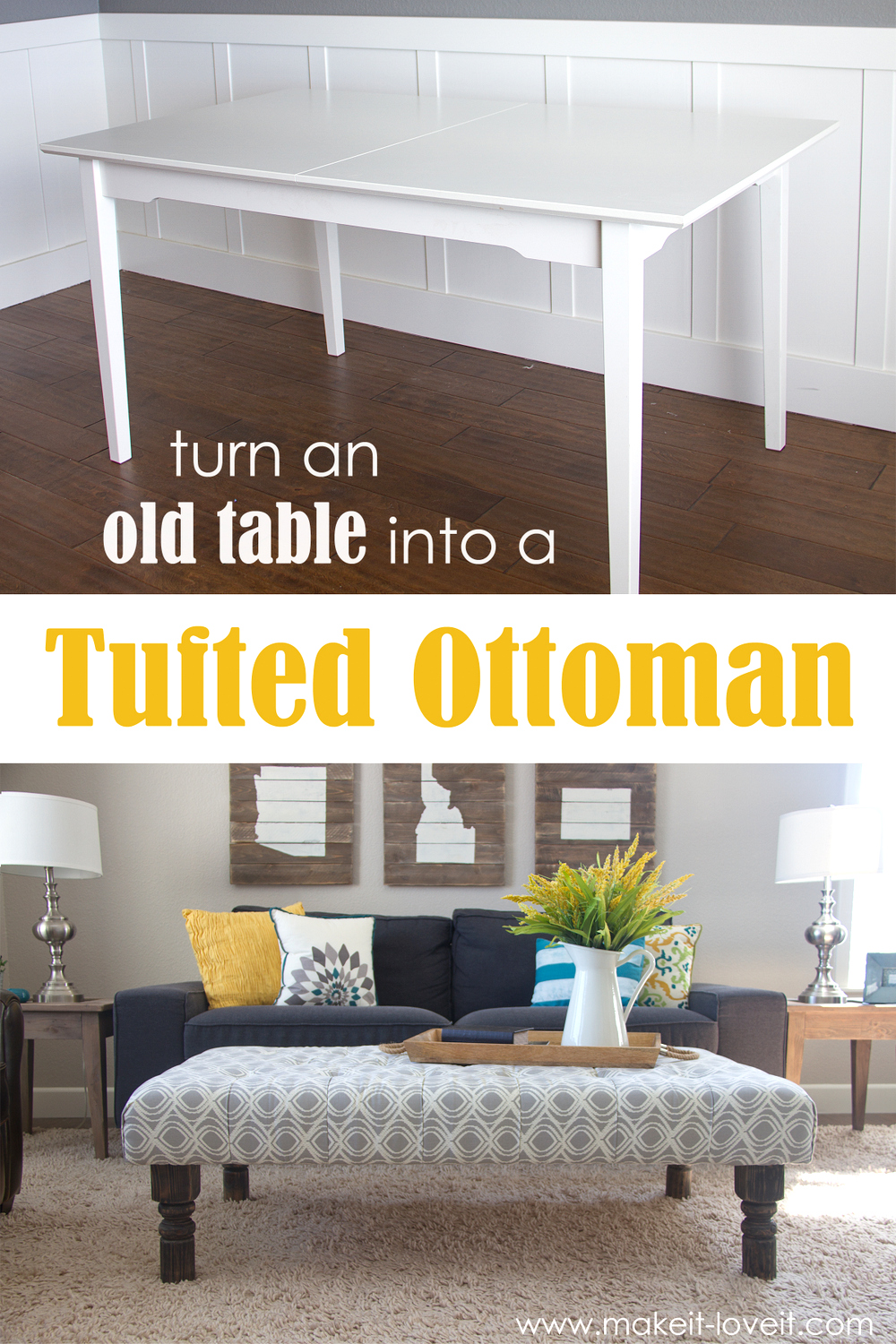 New DIY Tufted Ottoman from an old kithen table or coffee