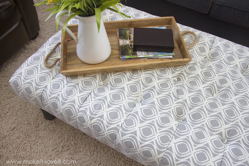 Fabulous DIY Tufted Ottoman from an old kithen table or coffee