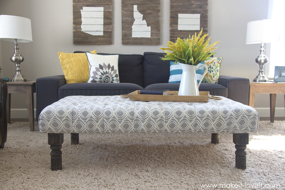 Simple DIY Tufted Ottoman from an old kithen table or coffee