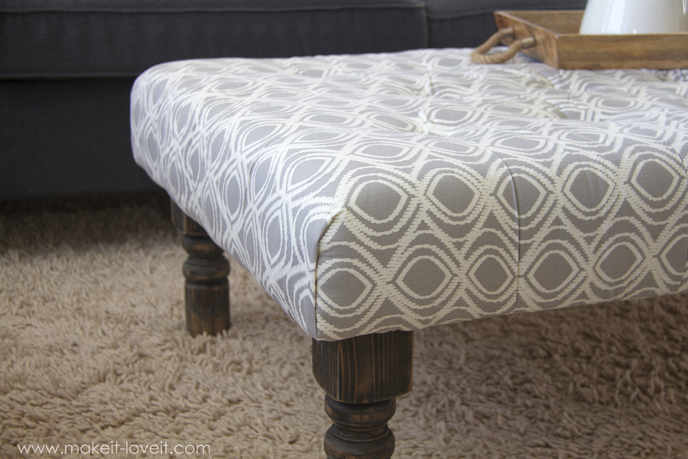 Diy Tufted Fabric Ottoman From An Old Table Make