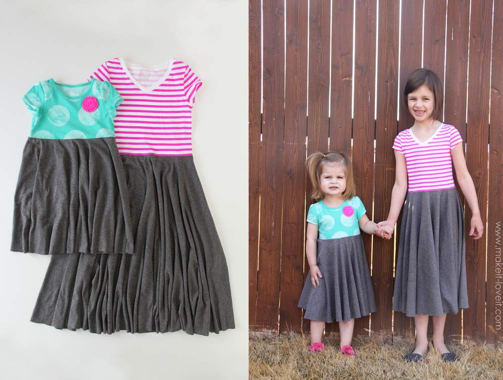 Make a color block dress with pockets from old tshirts for Easy to make t shirt dress