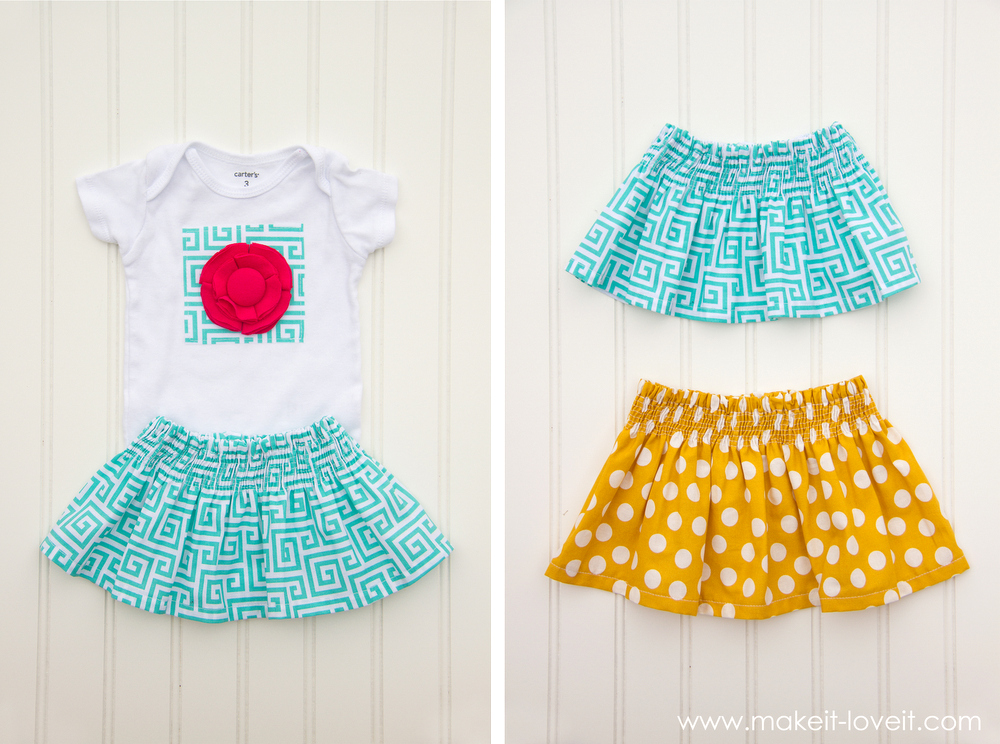 DIY Fabric Flower Onesie and Shirred Baby Skirt...a quick and sweet baby girl gift! --- Make It and Love It