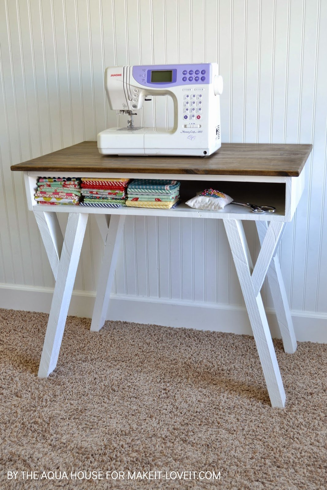 DIY Farmhouse Modern Desk with open front storage cubby