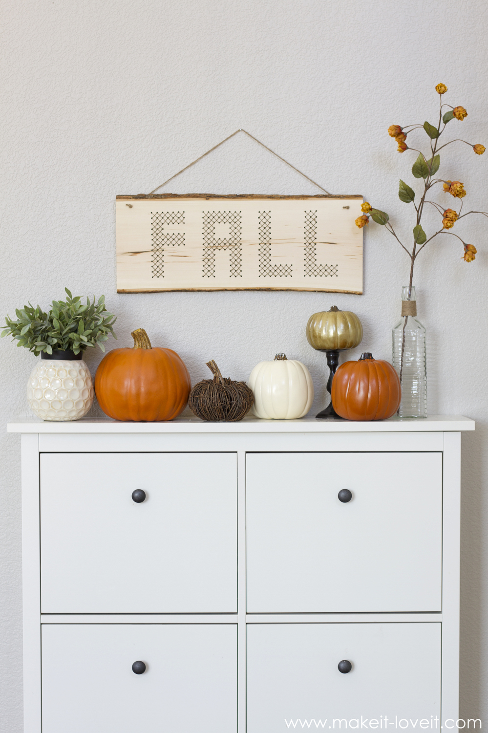 "Wood Plank Cross-Stitch ""FALL"" Decor"