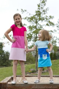 Make a Color-Block Dress with pockets (...from old Tshirts)