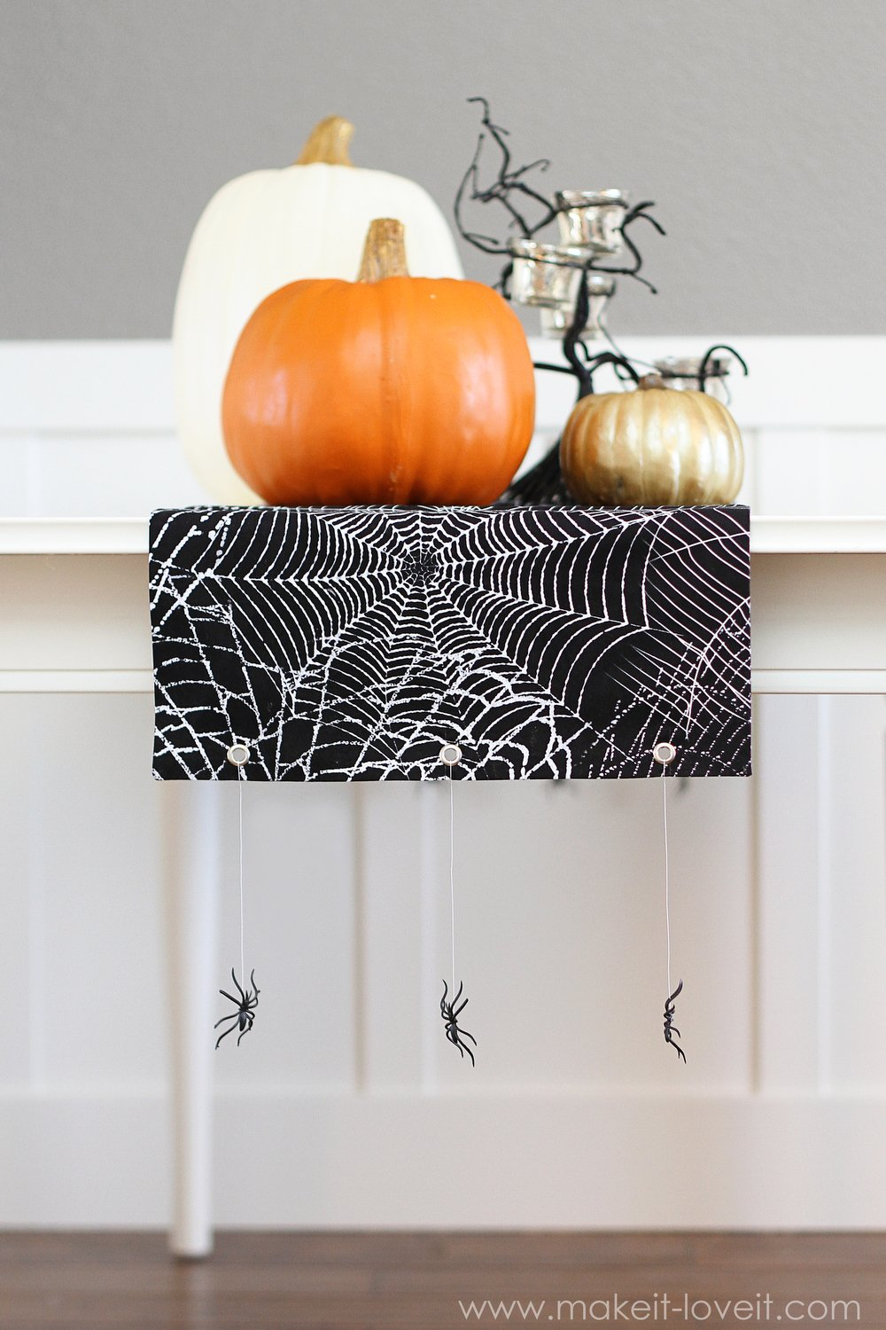 No Sew Halloween Table Runner With Hanging Spiders