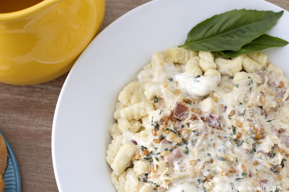 Ricotta Gnocchi (Ñoquis) with a fluffy Prosciutto Cream Sauce