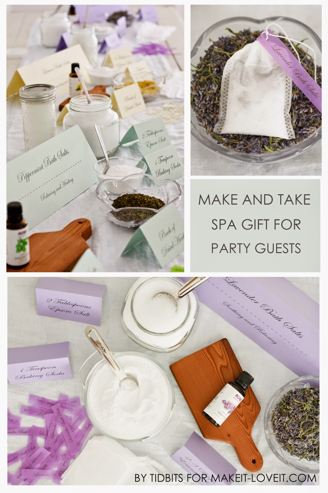 "Host a ""Make your own BATH SALT SOAKS in a TEA BAG"" Spa Party.....plus free printables! --- Make It and Love It"