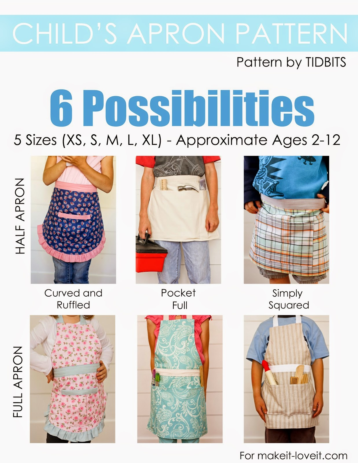 Child's Apron PDF Pattern (6 pattern styles, 5 different sizes)…new in the SHOP!