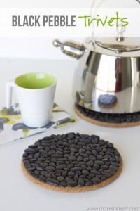 DIY Black Pebble Trivets...a great and inexpensive gift idea! | via Make It and Love It