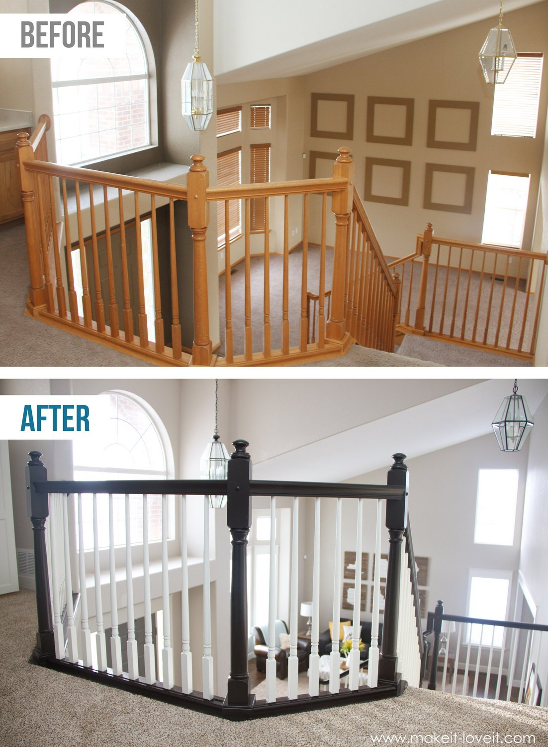 How to stain paint an oak banister the shortcut method for Best brand of paint for kitchen cabinets with faux iron wall art