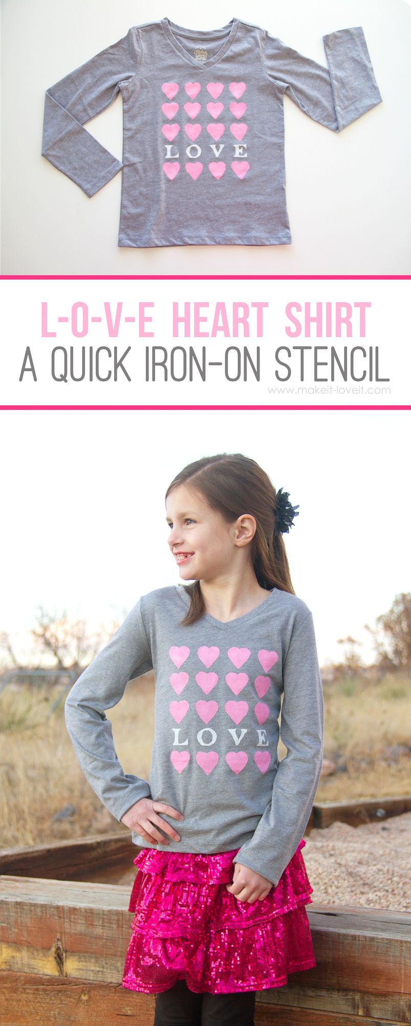 """""""I LOVE YOU"""" Heart Shirt (an iron-on Freezer Paper stencil)...fun for Valentine's, or any other day of the year! 