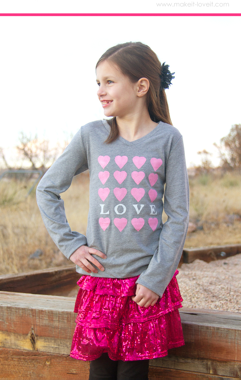 """I LOVE YOU"" Heart Shirt (an iron-on Freezer Paper stencil)"