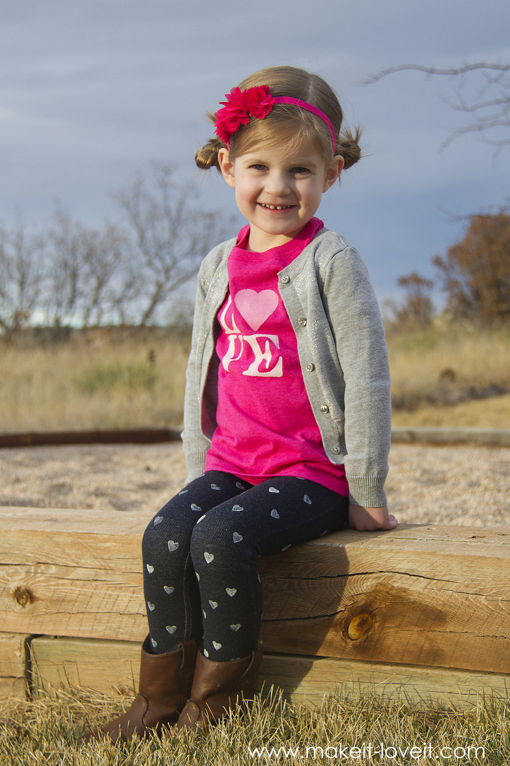 a LOVE Shirt and Mini Heart Stamped Pants