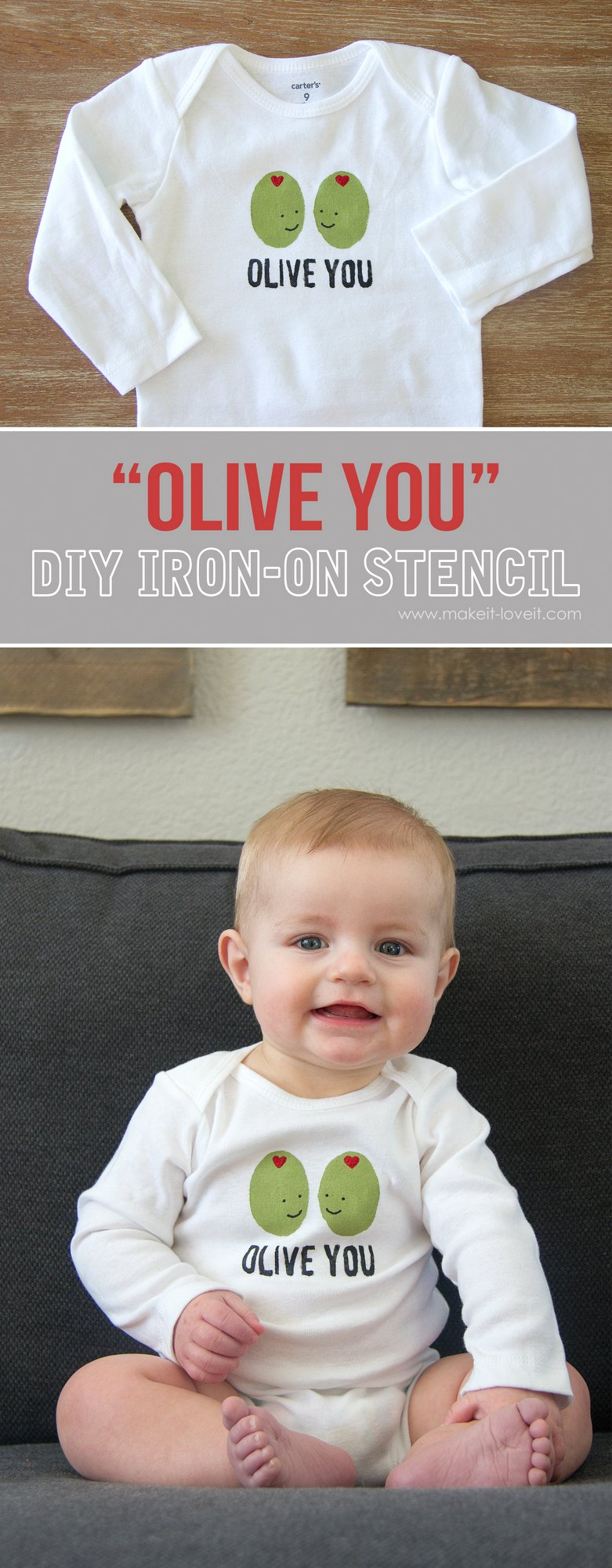 """DIY """"Olive You"""" Stenciled Shirt (...for Valentine's Day or any other day of the year!)   via Make It and Love It"""