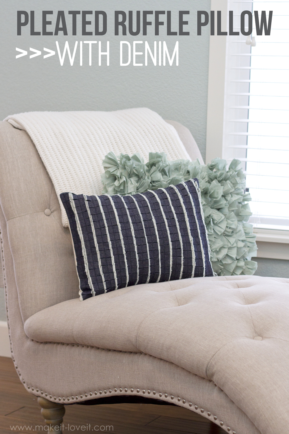 Pleated Ruffle Pillow…with DENIM!!